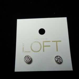 Loft Earrings Crystal Encrusted Button Silver E110